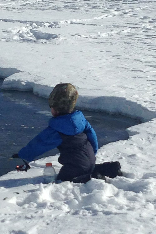 Ice fishing for the hale and hardy - even for a four year old.